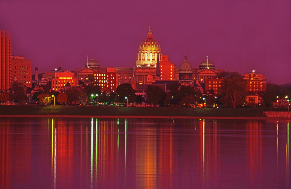 Harrisburg Capitol skyline at dusk