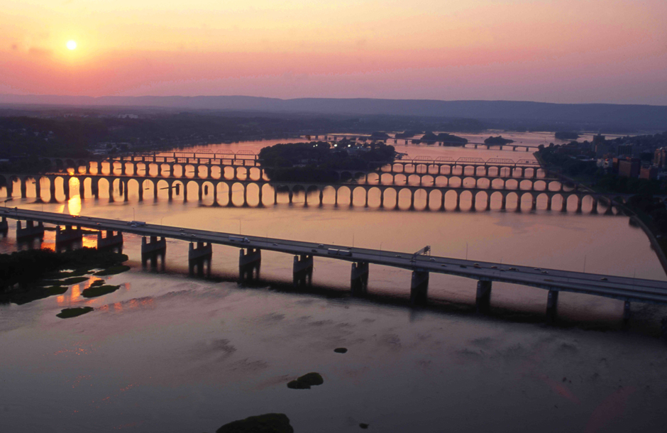 Bridges at sunset on Susquehanna River